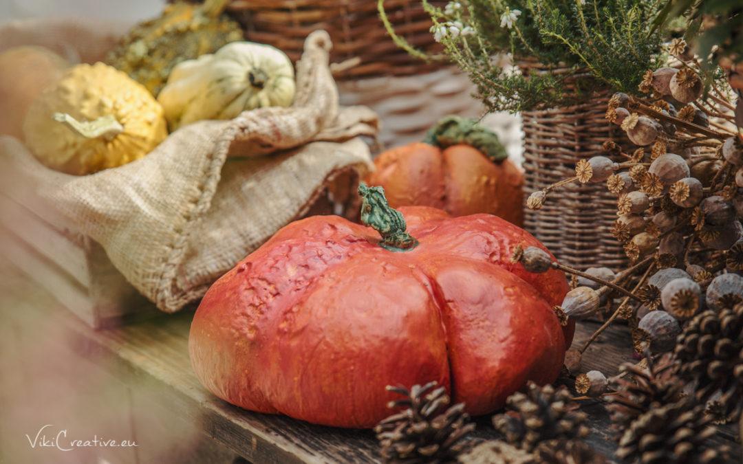 DIY – jesenná dekorácia – tekvičky z betónu