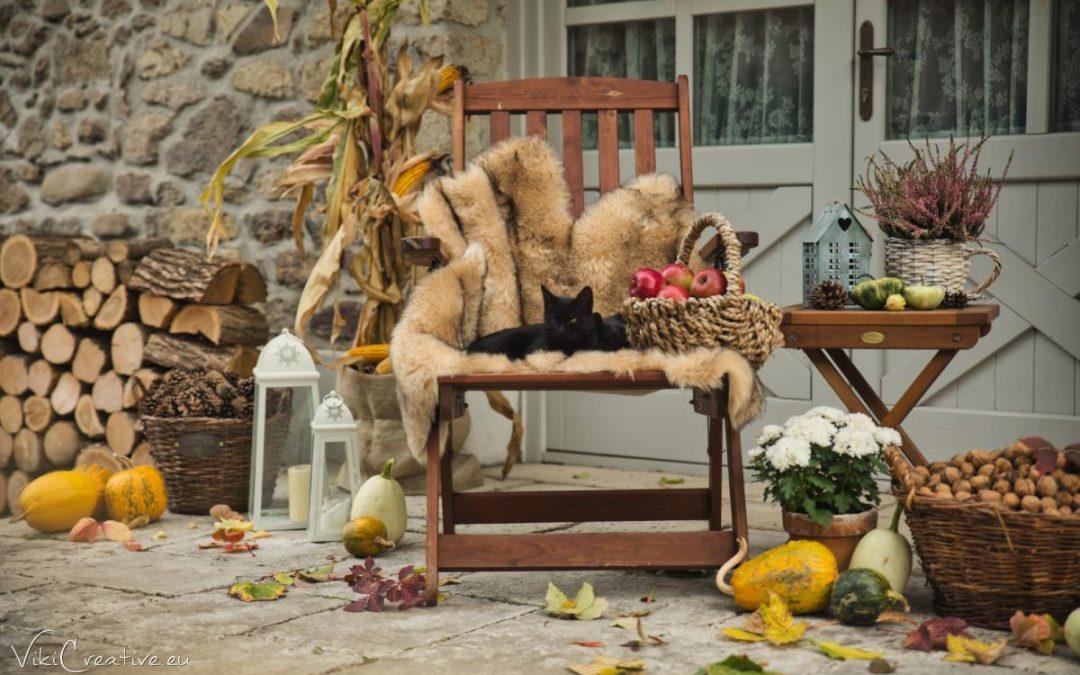Jesenná výzdoba pri domčeku