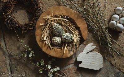 DIY – vajíčka zdobené bahniatkami
