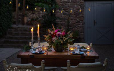 Váza z tekvice a inšpirácia na jesenné stolovanie